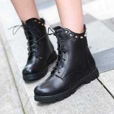 日韩冬季经典新款马丁靴系带平跟柳钉女靴甜美短靴/XH/533/P6673