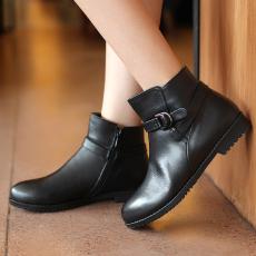 韩版秋冬甜美真皮女靴百搭牛皮裸靴短靴/FDME/X-01/Z6618