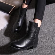 韩版日系全皮马丁靴甜美防寒真皮女靴素面牛皮靴/FDME/F6/Z6629
