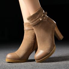 韩版拼接真皮裸靴甜美百搭粗跟短靴牛皮女靴/SSLM/152-1/Z6612