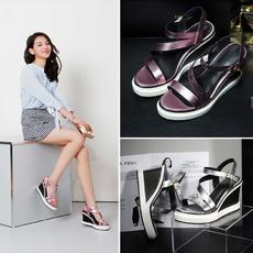 2016夏季韩版坡跟真皮凉鞋牛皮一字显瘦女鞋S3083/Z1908