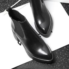 欧美秋冬时尚真皮裸靴倪妮同款粗跟短靴牛皮女靴/WMXE/W16/Z6617
