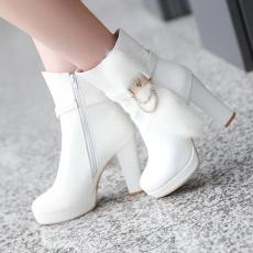 韩版冬季兔毛短靴粗高跟女靴甜美潮靴防寒靴/XH/615-3/P6646