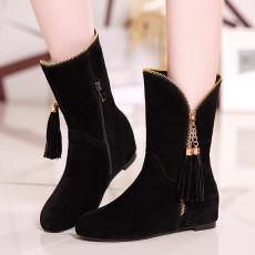 韩版甜美新款流苏鞋V型平底内增高短靴百搭女靴/MLY/Q7/P6560