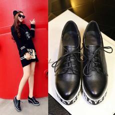 春季学院派真皮女鞋换季开学坡跟增高鞋不累脚BNE/061/Z1829