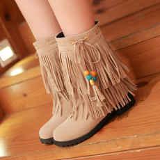 2014冬季波西米亚甜美流苏靴时尚百搭短靴/jiaX/8-8/P6670