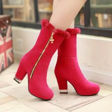 韩版冬季新款美靴粗跟靴羊毛筒口中靴显瘦高跟靴/HC/C-12/P6668