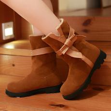 韩版冬季美靴可爱蝴蝶结平底短靴防寒女靴/XH/533-3/P6645