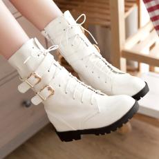 韩版秋冬简约短靴甜美通勤女靴皮带扣平底马丁靴/CP/A02/P6567