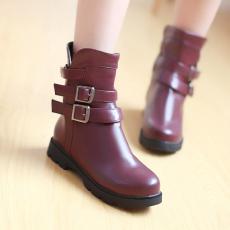 韩版通勤冬季女靴皮搭扣平底防滑单靴甜美马丁靴/XH/533-8/P6644
