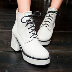 韩版秋冬粗跟系带女靴防水台圆头短靴个性单靴/MZR/N2032/P6613