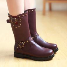 日系冬季新款马丁靴罗马靴平底短靴柳钉女靴/XH/33-5/P6671