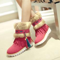 波西米亚新款流苏靴冬季保暖雪地靴平底毛毛靴/XTD/12193/P6690