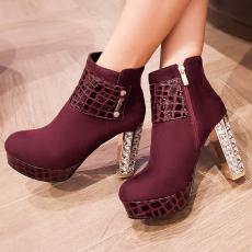 欧美秋冬时尚女靴罗马骑士靴超高跟潮靴短靴裸靴/AFL/7303/P6565