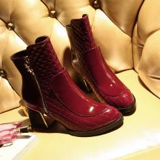 欧美秋冬同款粗跟短靴舒适真皮女靴头层皮克罗心靴/RQ/9011/Z6607