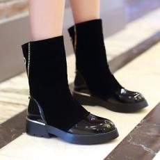 欧美冬季时尚豹头水钻女靴拼接大牌短靴骑士靴女/MZR/N2193/P6659