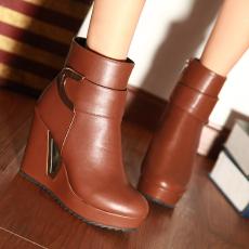 欧美秋冬新款坡跟女靴简约时尚短靴女百搭/MLH/A-10/P6546