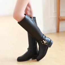 欧美冬季同款长靴品质甜美瘦腿女靴皮带扣低跟靴/Y-H/857-3/P6679