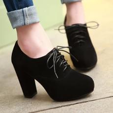韩版秋款单鞋深口超跟鞋粗跟女鞋甜美百搭鞋/JQL/W-11/P1668