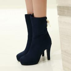 韩版冬季显瘦单靴高跟短靴纯色气质百搭女靴/GXZ/370/P6663