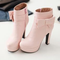 韩版甜美高跟短靴秋冬粗跟裸靴时尚单靴子女/MNS/S-7/P6578