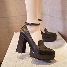 韩版甜美春季新款高跟鞋真皮一字防水台女鞋BNE/0102/Z1846