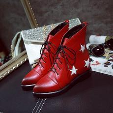 韩版擦色五星拼接女靴系带尖头短靴马丁靴MZR/8-7/P1862
