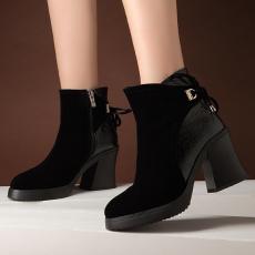 欧美时尚简约骑士靴秋冬新款女靴粗跟短靴单靴/MZR/3356/P6575