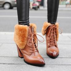 欧美大气真皮毛靴防寒靴头层牛皮短靴粗跟全皮靴/HLYZ/8053/Z6634