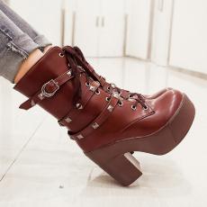 欧美潮流粗跟女靴朋克皮带扣系带短靴圆头罗马靴/MLY/Q5/P6615
