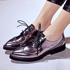 2016春季新款女鞋英伦布洛克鞋漆皮平底尖头单鞋DTN/6005/Z1816