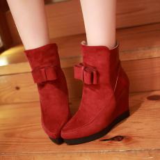 冬季经典尖头女靴甜美百搭蝴蝶结短靴坡跟靴/KJQ/12678-1/P6651