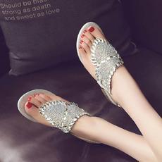 2016夏季500多颗闪亮水钻夹脚凉鞋甜美平跟优雅女鞋D557/Z1919