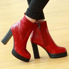 欧美秋冬品质短靴经典粗跟女靴简约百搭靴女/XL/8-08/P6606