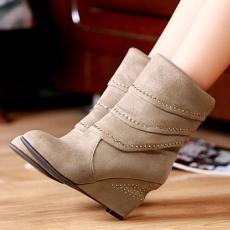 韩版甜美坡跟女靴水钻叠加短靴单靴女/MLY/-6/P6610
