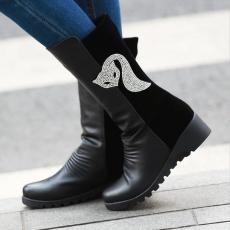 韩版冬季新款灵狐女靴甜美坡跟短靴百搭拼接单靴/MZR/N97/P6634