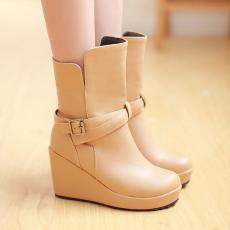 日系冬季新款坡跟女靴简约通勤罗马靴百搭短靴/jiaX/8-7/P6669