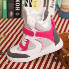韩版潮流明显款高帮鞋经典拼色内增高鞋平底鞋/RB/W011-1/P1690