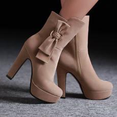 韩版日系甜美短靴粗跟蝴蝶女靴/YaoH/8189-2/P6694