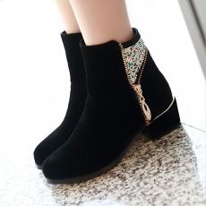 韩版甜美秋冬裸靴侧拉链水钻短靴粗跟单靴子女/MZR/2692/P6633