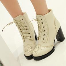 韩版秋冬新款单靴粗跟系带短靴粗跟女靴/BGE/Y93-1/P6579