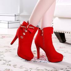 甜美高跟秋冬短靴品质蝴蝶结女靴大码靴XL/1239/P1858
