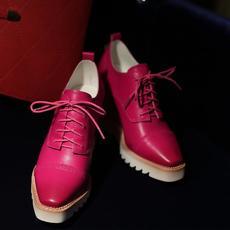 2016春季新款坡跟女鞋深口系带女鞋显瘦全皮单鞋DTN/7001/Z1817