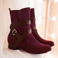 韩版甜美新款单靴通勤百搭短靴皮带扣女靴/MLE/Q106/P6576