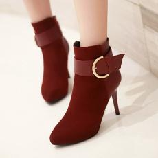 韩版东大门冬季细跟短靴甜美皮带扣尖头裸靴/Y-H/A703-2/P6680