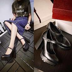 春季小香风真皮高跟鞋跟一字式牛皮浅口女鞋BNE/0101/Z1845
