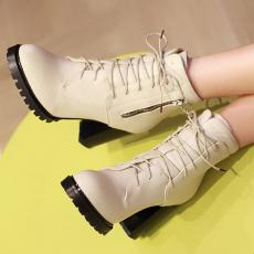 韩版秋冬新款女靴子粗跟克罗心系带短靴百搭单靴/BGE/Y93-2/P6580