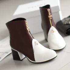 英伦秋冬新品拼色短靴粗跟甜美裸靴单穿女靴/XH/D-1/P6553