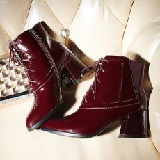 英伦冬季新款真皮短靴头层牛漆皮粗跟女靴/SSLM/8050-2/Z6603