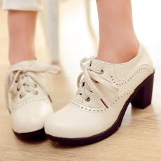 达芙秋季新款单鞋甜美粗跟鞋中跟深口女鞋百搭/WLH/1229/P1658